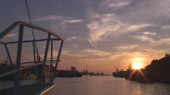 Sunset view from the desk of a moving ship Stock Footage