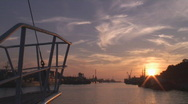 Stock Video Footage of Sunset view from the desk of a moving ship