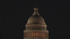 Capitol dome close tilt down night - stock footage