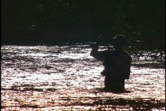 fly fish silhouette CU - stock footage