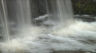 Stock Video Footage of Slow-shutter panning shot of a bottom of a waterfall, smoothed water surface