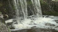 Stock Video Footage of Bottom part of a small waterfall in a city park falling down the rocks