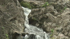 Panning shot of a water stream falling down the rocks - stock footage