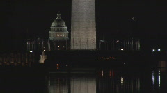 NIGHT Monument plus Capitol zoomed - stock footage