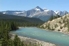 North Saskatchewan River in Banff National Park, Alberta, Canada Stock Footage
