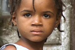 Sao Tome, Africa: Close up of young girl Stock Footage
