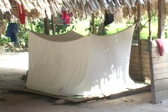 Mosquito net set up in remote Amerindian village in Peru. Stock Footage