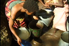 Collecting water in Malawi Stock Footage