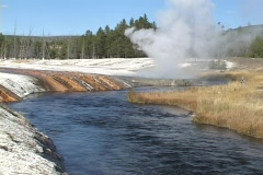 Cliff Geyser in Yellowstone National Park, Wyoming, United States Stock Footage