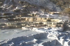 Mammoth Hot Springs in Yellowstone National Park, Wyoming, United States Stock Footage