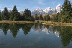 Beaver Pond at the base of the Teton Mountains Stock Footage