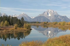 Oxbow Bend in Grand Teton National Park Stock Footage
