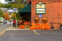 Pumpkins & Gourds displayed at market Stock Footage