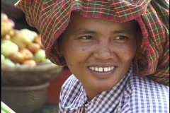 Cambodia: Faces, Woman in market place - stock footage