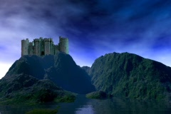 Castle on Green Hills Stock Footage