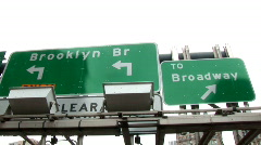 Sign Broadway / Brooklyn Bridge New York (NY074) Stock Footage