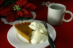 Pumpkin pie, ice cream, coffee Stock Footage