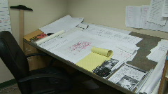 Blueprints and Plans on an Architects Desk in Office Stock Footage