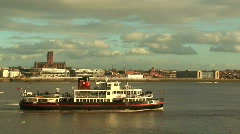 Mersey Ferry with Cathedral in Background HD 1080i Stock Footage