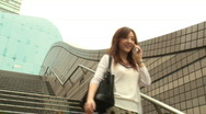 Woman smiling talking on phone Stock Footage
