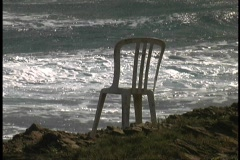 Chair on seacliff Stock Footage