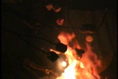 marshmallow roast 1 - stock footage