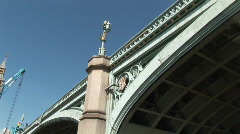 Westminster (Big Ben) going under Bridge (Lon021) - stock footage
