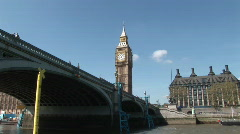 Westminster (Big Ben) and Bridge (Lon022) Stock Footage