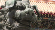 Lion Statue at Lama Temple Stock Footage