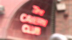 Defocus to focus CU of Cavern Club Sign (Liv004) Stock Footage