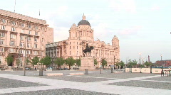 Pan R2L from  Port of Liverpool Building to Liver Building (Liv006) Stock Footage