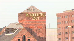 Quick Pull out from Pump House to wide of Docks (Liv017) Stock Footage