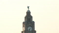 Pull out from Liver Building to Royal Albert Docks (Liv021) Stock Footage