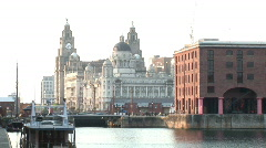 Pan round from Liver Building to wide of Royal Docks (Liv022) Stock Footage