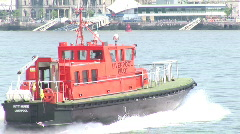 Pull out from CU of Rescue Boat to wide of Liverpool (Liv029b) Stock Footage