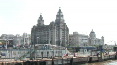 Mersey Ferry Leaving Liverpool (Liv033) Stock Footage