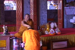Thailand: Buddhist Monk gives blessing - stock footage