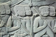 Cambodia: Bas-relief at Angkor Thom Stock Footage