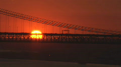 Lisbon - 25th April Bridge, Sunset Stock Footage