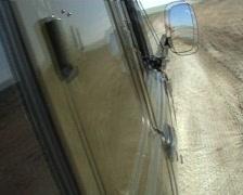Mongolia - car going on the Gobi desert Stock Footage