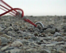 Mongolia - tent 's string during the storm on the Gobi desert Stock Footage