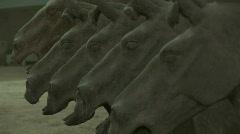 Row of Terra Cotta Horses in Xian, China - Terracotta Horses Stock Footage
