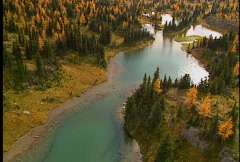 Alpine Autumn Larch Trees, Lakes and Meadows 2 Stock Footage