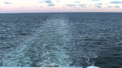 Stream of water waves after cruise ship, view Stock Footage