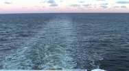Stock Video Footage of Stream of water waves after cruise ship, view