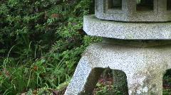Japanese Stone Lantern Pagoda and Pond Stock Footage