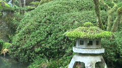 Japanese Stone Lantern Pagoda and Waterfall Stock Footage