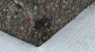 Stock Video Footage of Tilt view of stone wall corner