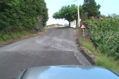 Driving through narrow roads on an Azores Island Stock Footage