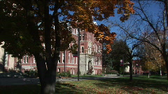 College campus on fall afternoon Stock Footage